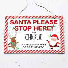 Personalised Santa Stop Here Sign - Hanging Plaque - Any Name