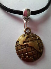 BRONZE PLANET EARTH CHARM PENDANT ON BLACK LEATHER CHOKER NECKLACE.