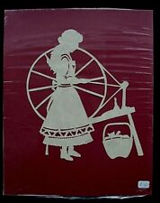 "Vtg. Hand Cut Paper Silhouette Folk Art ""Spinning Yarn"", signed"