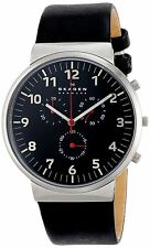 Skagen SKW6100 Men's Ancher Leather Band Arabic Dial Analog Chronograph Watch
