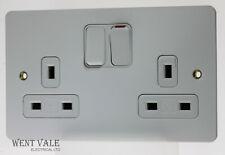 MK Edge - K14347 WHI W - 13a Twin Double Pole Dual Earth Switch Socket NIB