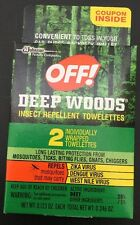 OFF! DEEP WOODS INSECT REPELLENT TOWELETTES repels Mosquitoes Ticks Gnats Chigge