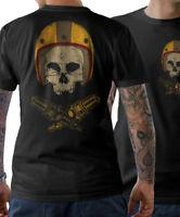 BIKER T-Shirt -Oldschool Biker Skull Helmet- Motorrad Schrauber Cafe Racer S-5XL