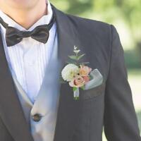Artificial Wedding Flower Corsage Groom Best Man Boutonniere Party Decor Hot