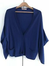 SEE BY CHLOE COBALT BLUE WOOL CASHMERE ORIGAMI FOLD SLEEVE CARDIGAN 42 10 12 COS