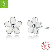 Darling Daisies Authentic White Enamel 925 Sterling Silver Earrings Stud Jewelry
