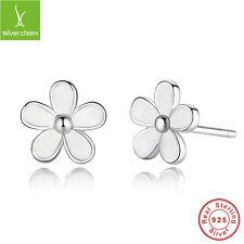 Darling Daisies Authentic White Enamel 925 Sterling Silver Earrings Stud Jewelry