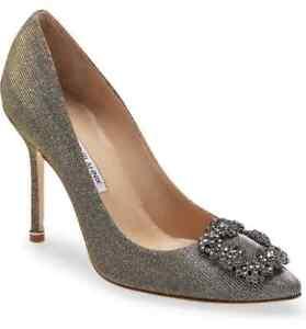 Manolo Blahnik Metallic Silver Textile Hangisi Jeweled Pointed Toe Pump 37 6.5