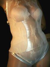 "Vtg silky illusion lace bodysuit leotard sheer see thru Plus 60"""