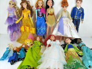 Lot Of 13 Disney Princess Barbie Dolls Belle Rapunzel Anna