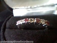 ROUND REAL RUBY SAPPHIRE WEDDING BAND RING SZ 8