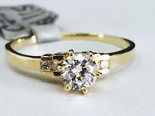 14K Solid Yellow Gold Round Cut CZ Engagement Ring - 4.8mm Cubic Zirconia Stone