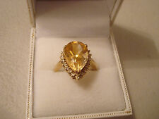 9ct Gold Citrine & Diamond Large Pear Cut Ring QVC Hallmarked band