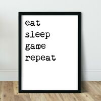 Gaming Prints Posters Gamer Room Pictures Boys Room Decor Home Wall Art Eat Game