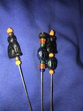 StickPin HatPin With Czech Black Cat And Scarab Beads