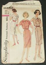 Simplicity 3382 Sewing Pattern Dress Modest Career Vintage 1960's Size 14 Cut
