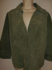 Coldwater Creek Leather Suede Jacket MED Womens 10-12 Green Coat 3/4 Sleeves 6c7