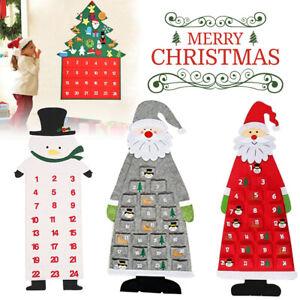 2021 Felt Christmas Advent Calendar Santa With Pockets Countdown Xmas Decoration