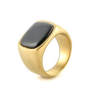 Black Stone Stainless Steel Men's Wedding Ring Vintage Signet Ring Biker Classic