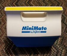 Vintage Igloo Mini Mate Cooler Blue White Lunch Box 6 Pack MiniMate Playmate
