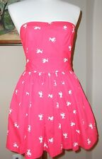 HOLLISTER Hot Pink Pelican Smocked Strapless Corset Fit & Flare Dress XS X Small