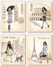 "Paris, London, Roma and New York City 11""x14"" Art Print Poster Home office decor"