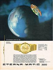 PUBLICITE ADVERTISING   1964   ETERNA MATIC  3000  MONTRE ENCORE PLUS PLATE