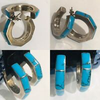 Sterling Silver 925 Turquoise Taxco Mexico Oversized Hoops Earrings Vintage 23g