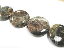 6 pcs Green Snakeskin Natural Gem Stone Flat Round 25mm Jewelry Grade New