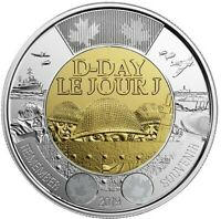 NEW! NO-COLOUR 2019 75th D-Day UNC Canada $2 toonie coin from Mint Roll