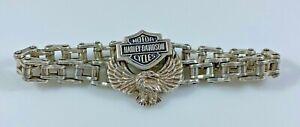 "Harley Davidson Men's Bracelet Large Sterling Silver Chain 9"" Long 76.2 Grams"