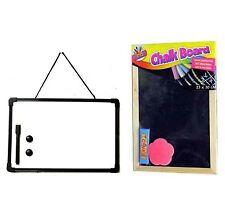A4 Whiteboard AND Chalkboard Blackboard Office Memo Chalks Duster Pen & Eraser