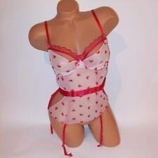 Victoria Secret Lingerie Bustier Corset Garter Straps Beige Red Hearts Sheer