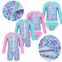Kids Baby Girls Swimwear Long Sleeves Swimsuit UPF 50+ Rash Guard Bathing Suit