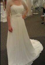 Davids Bridal WG3128 wedding dress strapless sz 2 ivory buttons zip embellished