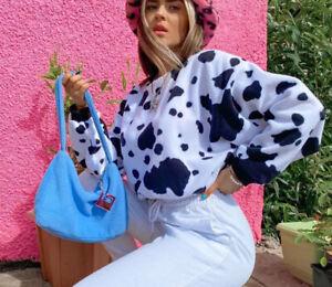 Black And White Cow Print Long Sleeve Crop Jumper Drawstring UK STOCK animal