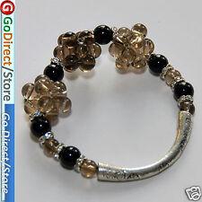 Elastic Smoky Quartze Black Agate Bangle Bracelet, fashion accessories, bangle