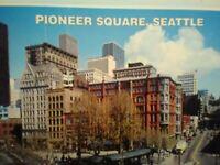 VINTAGE POST  CARD  AERIAL VIEW PIONEER SQUARE SEATTLE WASHINGTON
