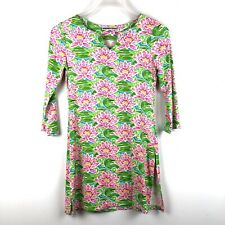 BARBARA GERWIT Tunic Top Sz Small Pink Green Floral 3/4 Sleeve Slit Side Stretch