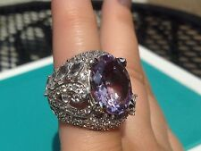 "YOURS by Loren Sterling Silver 9.94ct Pink Amethyst & White Topaz ""Feather"" Ring"