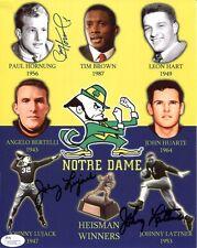 Hornung+Lattner+Lujack Hand Signed 8x10 Color Photo Notre Dame Heisman Jsa