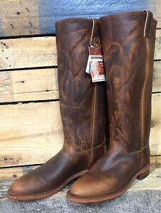 "Chippewa Gale Tall 15"" Fashion Cowboy Boot Wms 8.5 Tan Roper HorseRiding 1901W62"