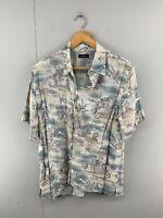 Croft & Barrow Men's Vintage Short Sleeve Hawaiian Shirt - Grey - Size Medium