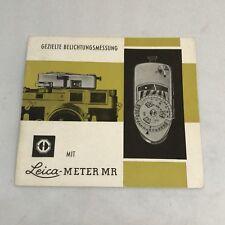 Leica MR Light Meter Instruction Book Manual German Gezielte BelichtungsmessungO