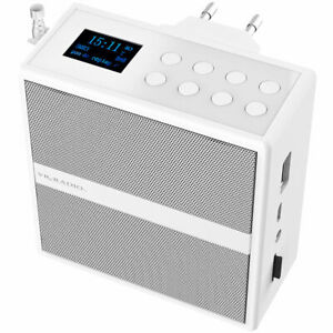 Badradio: Steckdosenradio mit DAB+/FM, Bluetooth, USB, Freisprecher & Akku, 6 W