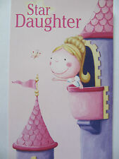 PRETTY COLOURFUL PRINCESS IN THE CASTLE STAR DAUGHTER BIRTHDAY GREETING CARD