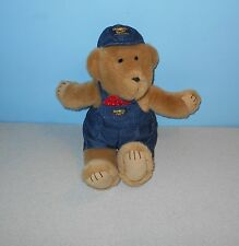 "Eden 12"" Oshkosh Osh Kosh Cocoa Teddy Bear Stuffed Plush in Jeans Overalls"