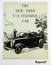 1929 The New Ford V-8 Cylinder Car Literature Full Size B & W Reproduction R07