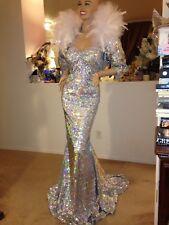 DRAG QUEEN SEXY silver hologram sequins DRESS GOWN bolero 1X 2X  16 -18-20 TALL