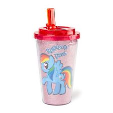 My Little Pony Rainbow Dash Glitter Travel Tumbler Tumblr Cup with Straw New